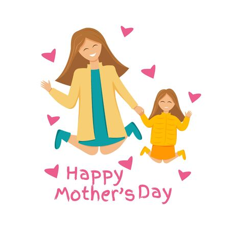 Vector illustration of happy family is jumping. Mother and daughter holding hands together jumped. Greeting card for international mothers day with cute characters and text. Flat design isolated  イラスト・ベクター素材