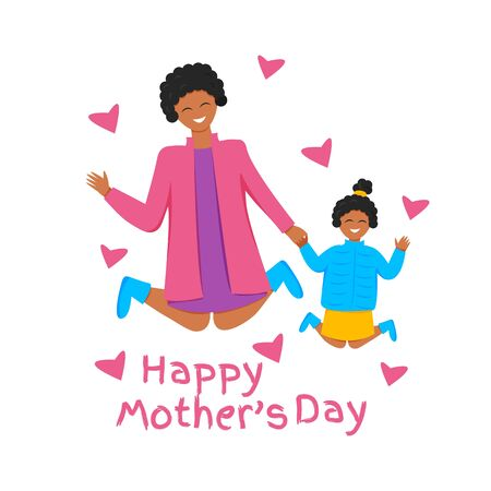 Vector illustration of happy african family jumping. Afro mother and daughter holding hands together. Greeting card for international mother's day with cute characters and text. Flat design isolated Vecteurs