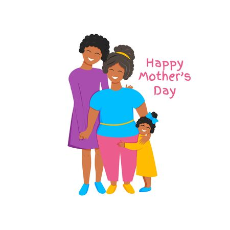 Vector illustration of three generations together. African cute grandmother, mother and daughter hugging each other. Flat concept design for international mother's day isolated on white background