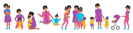 Vector set of african mother's little activities. Funny situations of mom on maternity leave. Concept design of happy family huge each other isolated. Three generations together holds hands and laugh