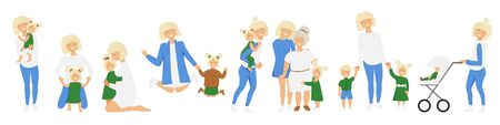 Vector set of blond mothers little activities. Funny situations of mom on maternity leave. Concept design of happy family huge each other isolated. Three generations together holds hands and laugh  イラスト・ベクター素材