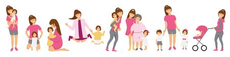 Vector set of brunette mother's little activities. Funny situations of mom on maternity leave. Concept design of happy family huge each other isolated. Three generations together holds hands and laugh