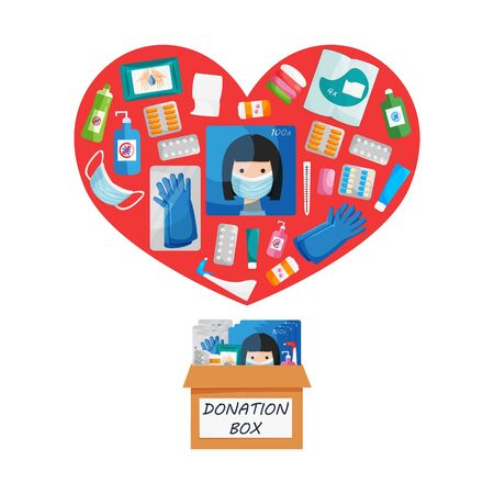 Vector illustration of donation box and heart shape with disposable respirator breathing face masks, gloves, medicine, pill, soap, toilet paper, antibacterial products, sanitizer, wet wipes isolated Ilustração