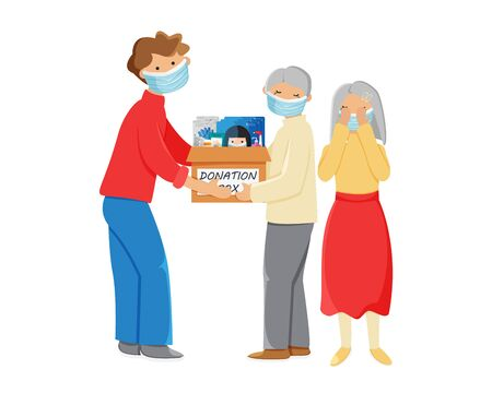 Vector illustration of people with donation box isolated on white background. Young adult man giving donation box with breathing face masks, gloves, medicine and sanitizer to crying elderly couple