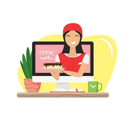 Vector illustration of video blogger with cake. Happy asian woman making a blog about healthy desserts. Podcast concept of tasty food. Video recording at home. Freelance cook character in flat style