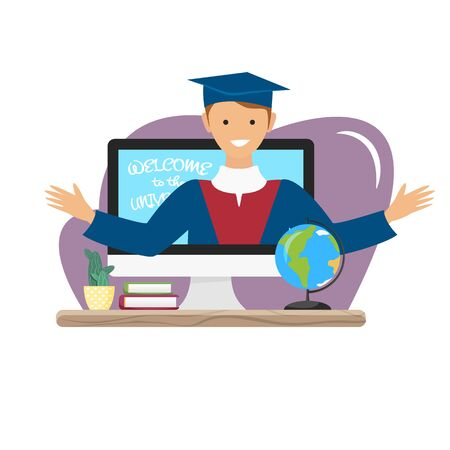 Vector illustration of video blog about university. Alumnus in mantle showing student life. Podcast concept of agitation. Video recording at home,dormitory or campus. Flat character and high education