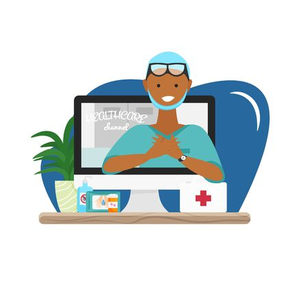 Vector illustration of video healthcare channel. Flat concept design of online help, consultation. Medical news from doctor about pandemic and epidemic. African nurse explains hygiene and first aid Ilustração