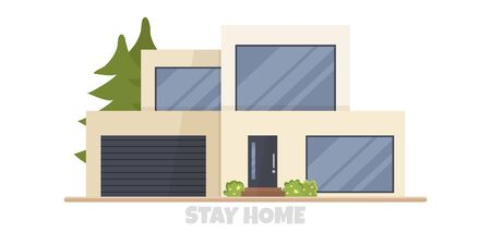 Vector illustration of modern big cottage house isolated. Concept idea of real estate in cartoon flat style. Design of residential building with huge windows and garage. Stay home for safe isolation 向量圖像