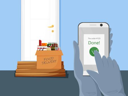 Vector illustration of contactless food delivery. Concept design of safe grocery carrying service in cartoon flat style. Products box near customer door. Courier delivered order and said it in app 向量圖像