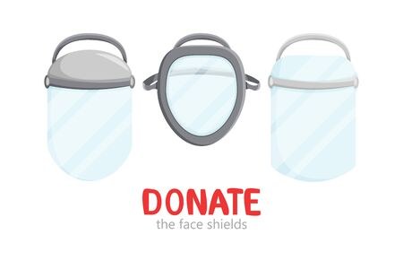 Vector illustration of laser full-face shields isolated. Industrial design of medical surgical plastic workwear. Flat charity donation concept and social health care. Hospital and infection protection