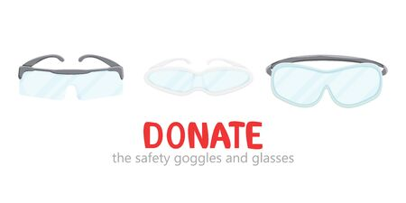Vector illustration of safety goggles donation isolated.  Industrial design of medical surgical plastic or glass workwear. Flat charity donation concept and social health care. Doctors accessories