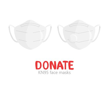 Vector illustration of set of surgical KN95 masks isolated. Clothes donation of disposable respirator protective face wear. Flat concept design of industrial safety PPE. Healthcare and social help