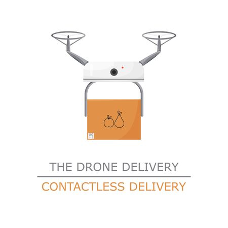 Vector illustration of drone contactless delivery isolated. Non-contact express service to bring your purchase. Cartoon flat design of future logistic system. White quadcopter holding carton box