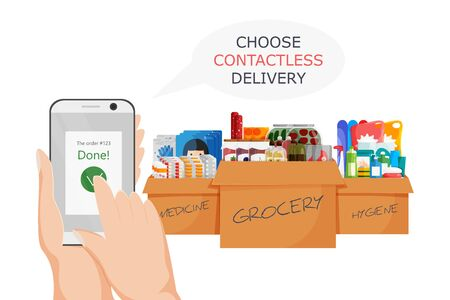 Vector illustration of online shopping in epidemic period. Flat concept design to choose contactless delivery. Non-contact express logistic service in quarantine. Cardboard boxes with goods isolated