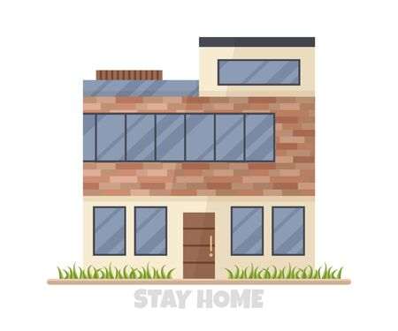 Vector illustration of modern big cottage house isolated. Concept idea of real estate in cartoon flat style. Design of residential three-floor building with a lot of windows. Stay home for isolation 向量圖像