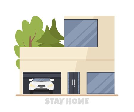 Vector illustration of modern big cottage house with car in garage isolated. Concept idea of real estate in cartoon flat style. Design of residential building with huge windows. Family condominium