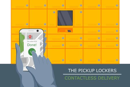 Vector illustration of pickup locker service. Flat concept design of contactless delivery. Non-contact express logistic service in quarantine. Courier putting location in phone for pick up purchase 向量圖像