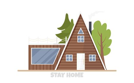 Vector illustration of eco-house in flat style. Architecture concept in rustic style. Cartoon design of residential construction with chimney, terrace and forest in back yard. Wooden home for huntsman
