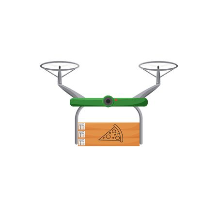 Vector illustration of drone contactless delivery isolated. Restaurant using non-contact express service to bring pizza to you. Flat design of future logistic system. Quadcopter holding carton boxes