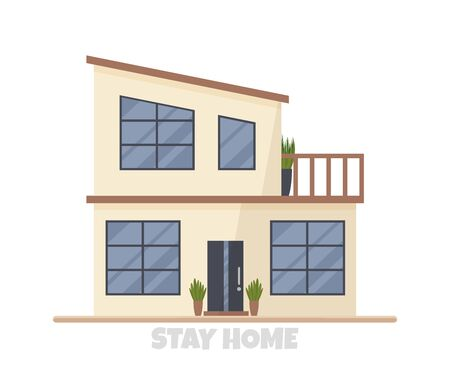 Vector illustration of modern big cottage house isolated. Concept idea of real estate in cartoon flat style. Design of residential two-floor building with huge windows and balcony. Family condominium