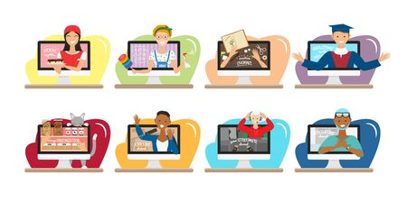 Vector illustration of different podcast channels isolated. Design of video blogs about healthy cook, cleaning, handmade, creativity, online education, storage organization, computer game and medicine