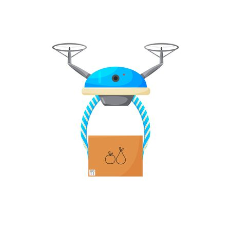 Vector illustration of drone contactless delivery isolated. Non-contact air express service to bring your purchase. Cartoon flat design of future logistic system. Blue quadcopter holding carton box