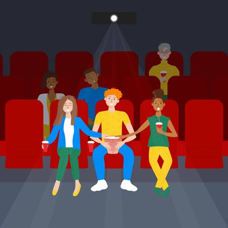 Vector illustration of people sitting in cinema on social distance after quarantine. Funny polyamorous people, african couple and elderly woman watching a movie. Front view. Cartoon flat design