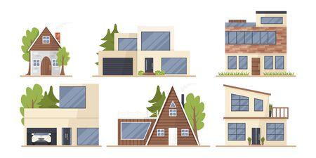 Vector set of cute houses in cartoon flat style isolated. Illustration of residential eco-buildings, front view. Collection of variety family condominium. Outdoor and exterior in minimalist style 向量圖像