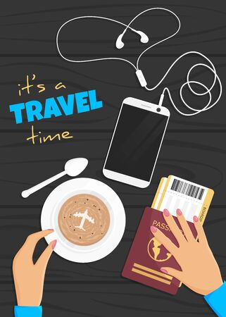 Vector cartoon flat illustration of travel banner. Objects in flat lay style. Female hand keeping coffee cup, next are passport, tickets and smartphones with headphone. Vertical summer vacation poster