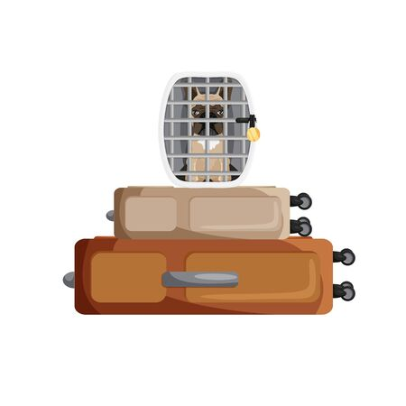 Vector illustration of french bulldog inside cage isolated. Cartoon domestic pet in dog carrying over two suitcases. Flat travel concept with puppy. Summer vacations with animal.  Tourism and holidays