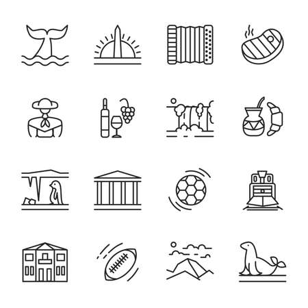 Vector icons set of Argentina in linear style. Collection of national symbols of travel items for web. Outline bundle of famous places, traditional food and argentine culture isolated. South america