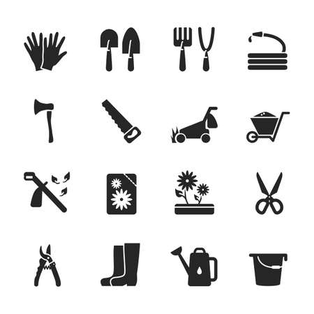 Vector glyph icon set of gardening tools isolated. Black symbols of equipment for agriculture and organic food cultivation. Web minimalist elements included wheelbarrow, lawn mower, scissors, saw, ax