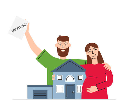 Vector flat concept illustration of mortgage isolated. Happy family buying house with bank credit. Abstract ownership agreement and house purchase. Couple received letter that approved to buy property