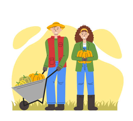 Vector flat illustration of family with pumpkins isolated. Young man holding wheelbarrow with squashes. Adult couple taking harvest for thanksgiving day. Design for autumn holidays. Fall is coming