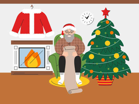 Vector flat illustration of Santa Claus checking wishlist of children at home. Elderly man reading gift letter. Pensioner sitting on armchair next to fireplace and christmas tree. New Year atmosphere