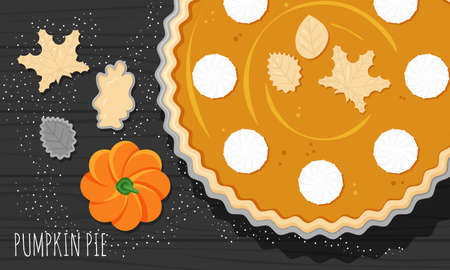 Vector flat horizontal banner for Thanksgiving day. Pumpkin pie with wripped cream cheese and dough leaves are on black wooden table. National traditional seasonal food for North America holidays 向量圖像