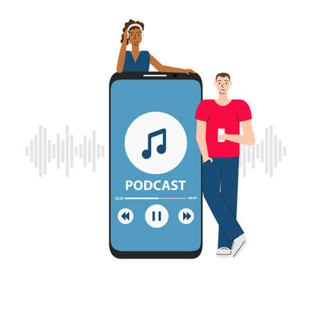 Vector illustration of people listening to podcast in phone. Youth studying online in coronavirus period. Flat concept of internet digital recording, broadcasting, training and elearning isolated 向量圖像