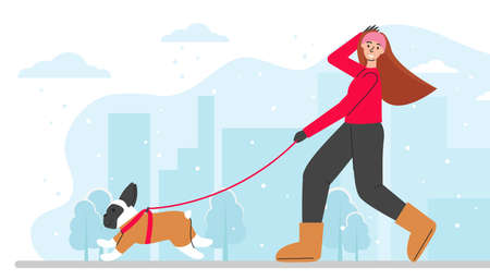 Vector illustration of young girl walking with pet in winter. Woman with french bulldog are in the city. Dog walker working in cold weather. Colorful flat line concept of city urban scene isolated 向量圖像