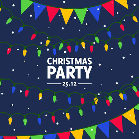 Vector flat invitation for christmas dance party. Design template of greeting card in flat style on dark blue background. Colorful banner for festive event. Square format usable for social networks 向量圖像
