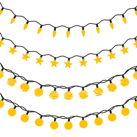 Vector flat set of led christmas lights isolated. Collection of design elements for New Year themes. Garlands kit for winter holidays. Electric equipment in flat style. Star, circle and elipse bulbs