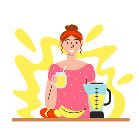 Vector flat illustration of woman holding smoothie isolated. Handmade fresh natural drink with banana and mango. Young girl drinking juice. Cooking scene with abstract background. Female handsome girl