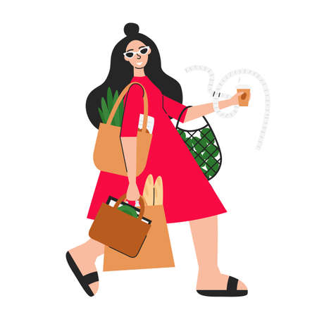 Vector illustration of woman doing eco shopping isolated. Young girl holding bags with groceries. Happy buyer with coffee cup. Flat handsome female character. Cute person for sale banner, poster, ads