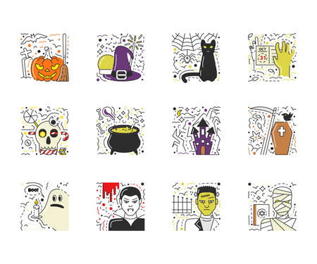 Vector set of halloween scenes in flat line style. Modern icons of pumpkin, witch hat, cat, zombie hand, skull, cauldron, coffin, ghost, vampire, frankenstein and mummy. Stickers collection isolated 向量圖像