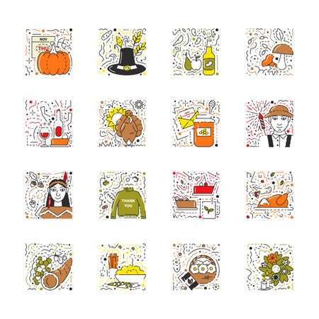 Vector flat linear icon set of thanksgiving day. Collection of American holiday traditional elements. Modern trendy autumn symbols. Harvest festival bundle of turkey, pumpkin, pilgrim hat, pie, farmer Çizim