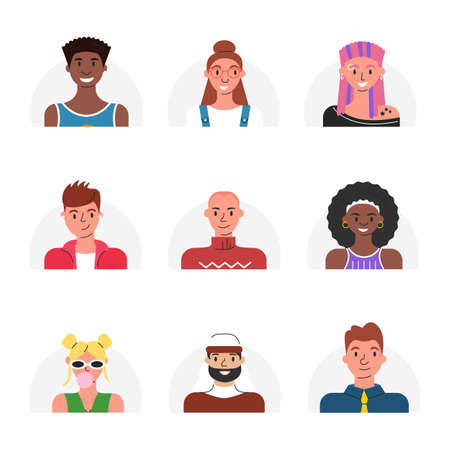 Vector illustration of avatars for online users. Flat set with portraits of multicultural people isolated. Modern cartoon collection of female and male human faces. Icons for social networks account 向量圖像