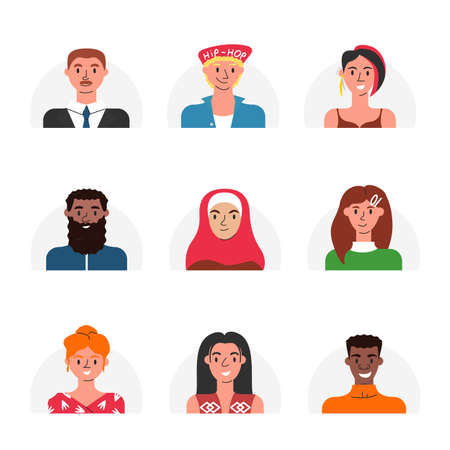 Vector flat collection of multicultural human faces isolated. Modern stylish portraits of online users. Female and male avatars of people of different races, age and religion. Social networks icons 向量圖像