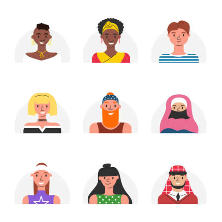 Vector bundle with various people avatars for users of social network accounts. Collection of female and male modern stylish faces isolated. Set of multi-ethnic human facial icons. Adult characters 向量圖像