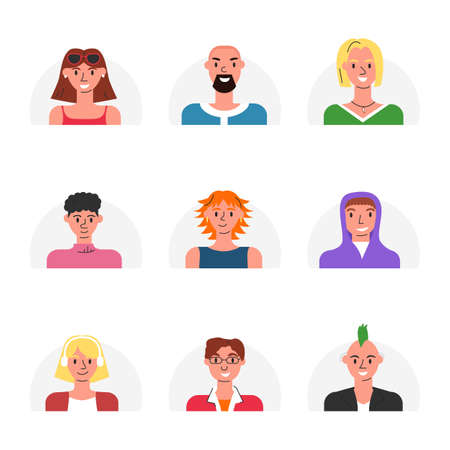 Vector avatar collection for social networks isolated. Illustration included icon as men, women, adult and young pictogram for user profile. Flat linear female and male modern stylish human faces