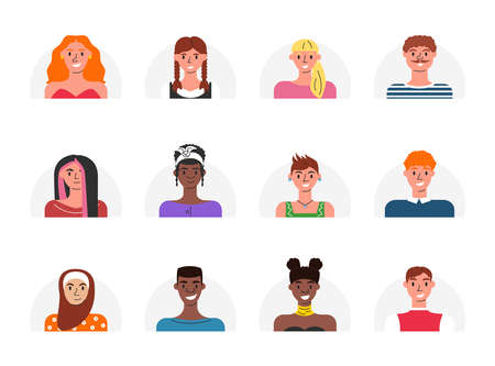Vector collection of users icons for online apps. Illustration of female and male human faces in flat cartoon style. Big bundle of different people avatars for a video game, Internet forum, account