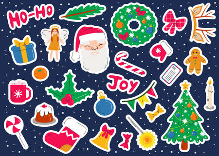 Vector Christmas stickers set in flat linear style on dark blue background. Cute stylish collection with winter holiday symbols. New Year colorful doodle elements, santa, tree, sock, cake, gingerman